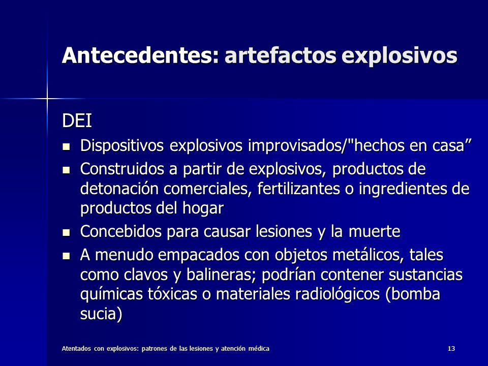 Antecedentes: artefactos explosivos