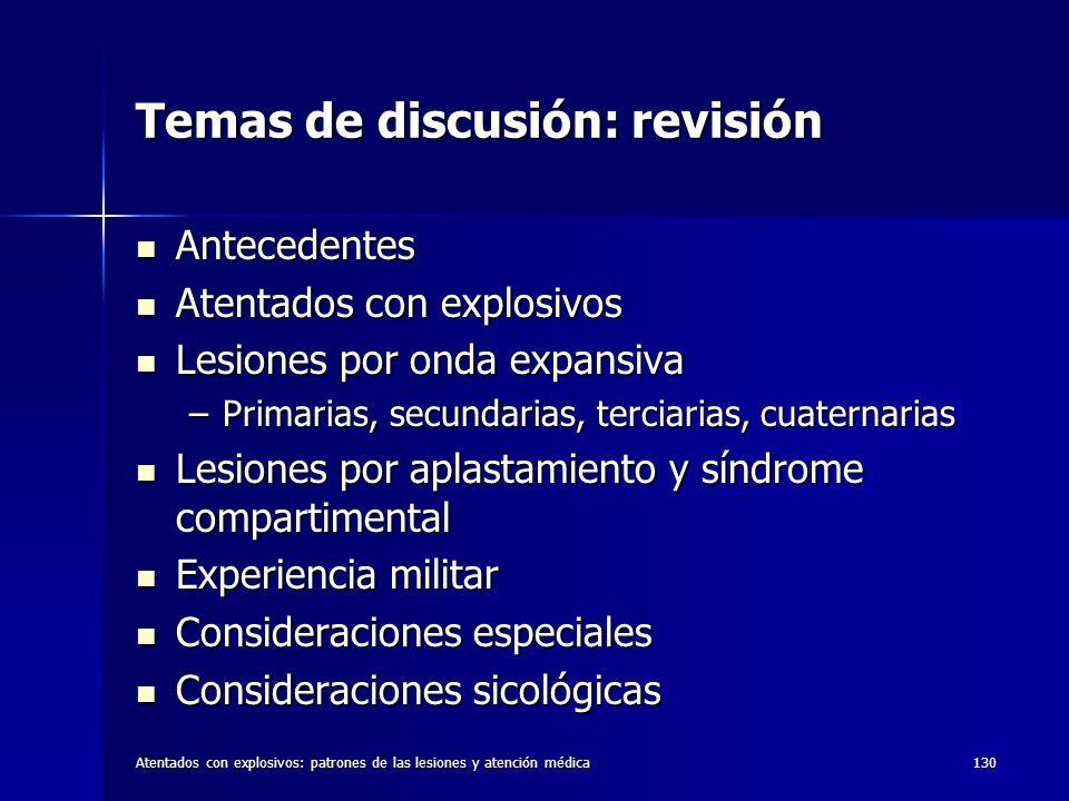 Temas de discusión: revisión