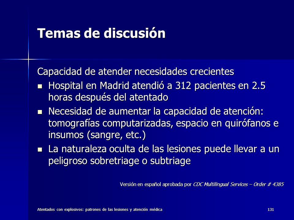 Temas de discusión Capacidad de atender necesidades crecientes
