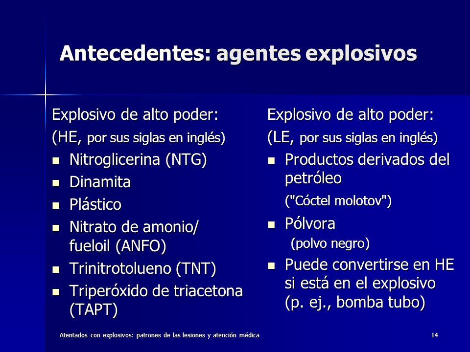Antecedentes: agentes explosivos