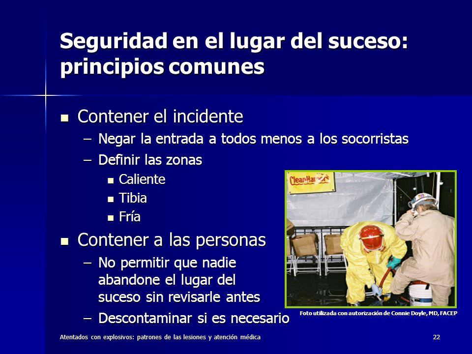Seguridad en el lugar del suceso: principios comunes