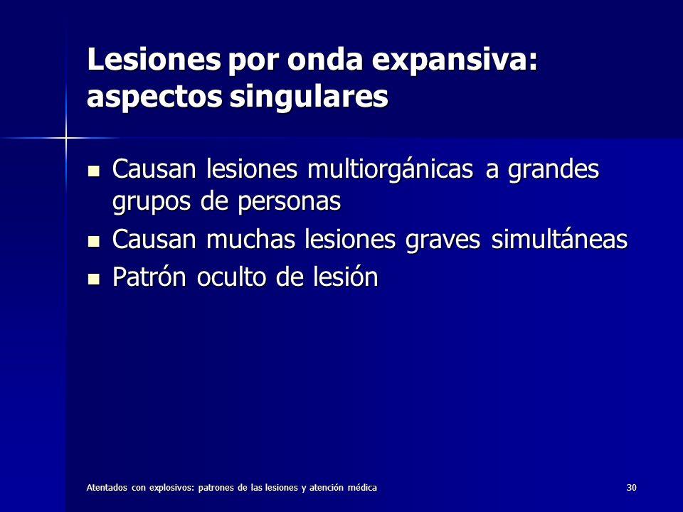 Lesiones por onda expansiva: aspectos singulares