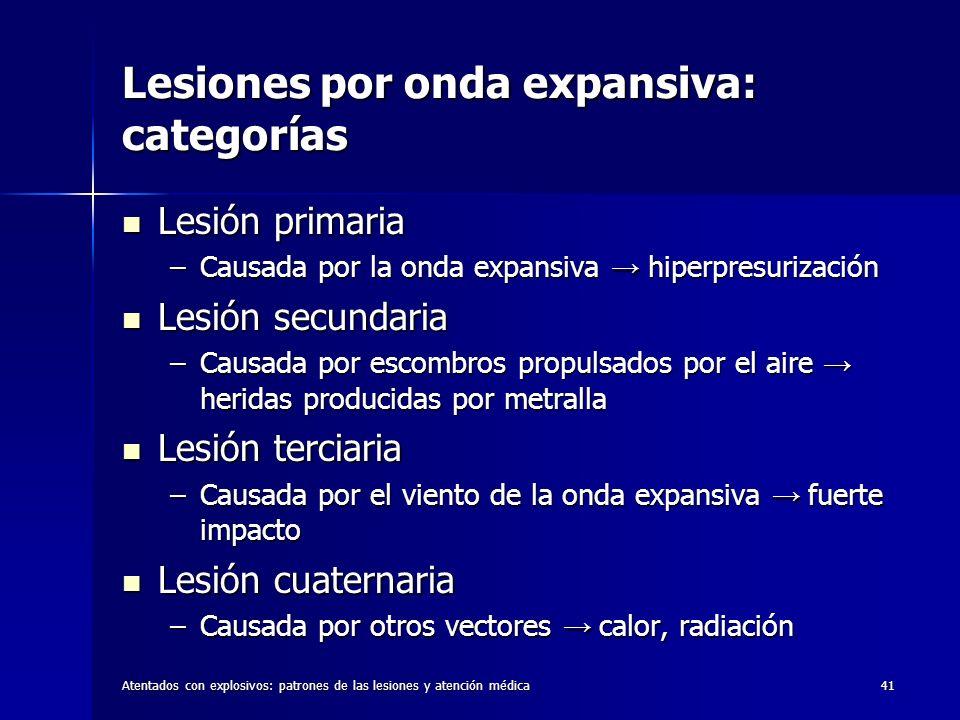 Lesiones por onda expansiva: categorías