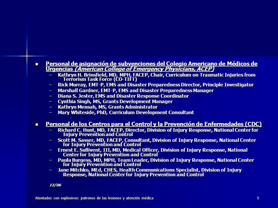 Personal de asignación de subvenciones del Colegio Americano de Médicos de Urgencias (American College of Emergency Physicians, ACEP)