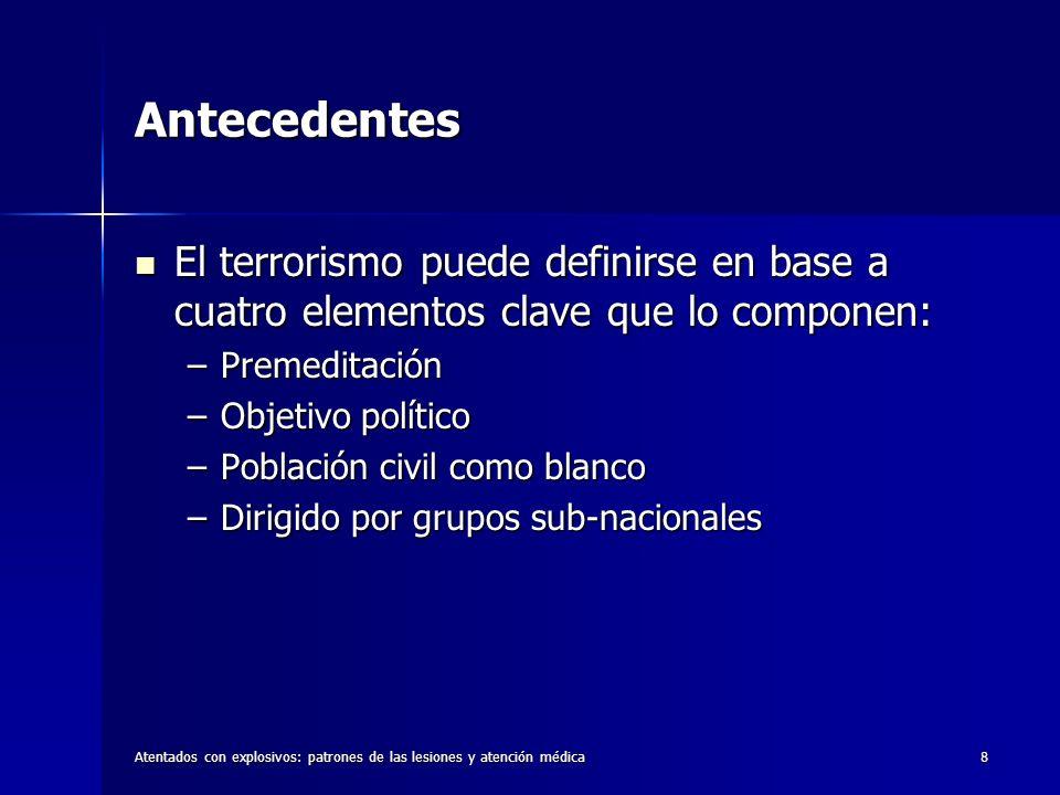Antecedentes El terrorismo puede definirse en base a cuatro elementos clave que lo componen: Premeditación.