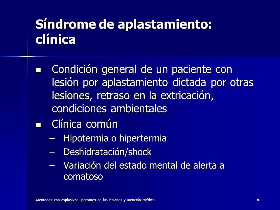Síndrome de aplastamiento: clínica