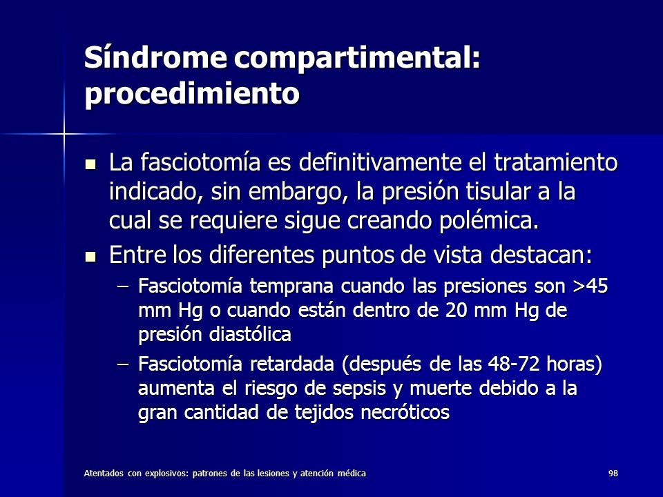 Síndrome compartimental: procedimiento