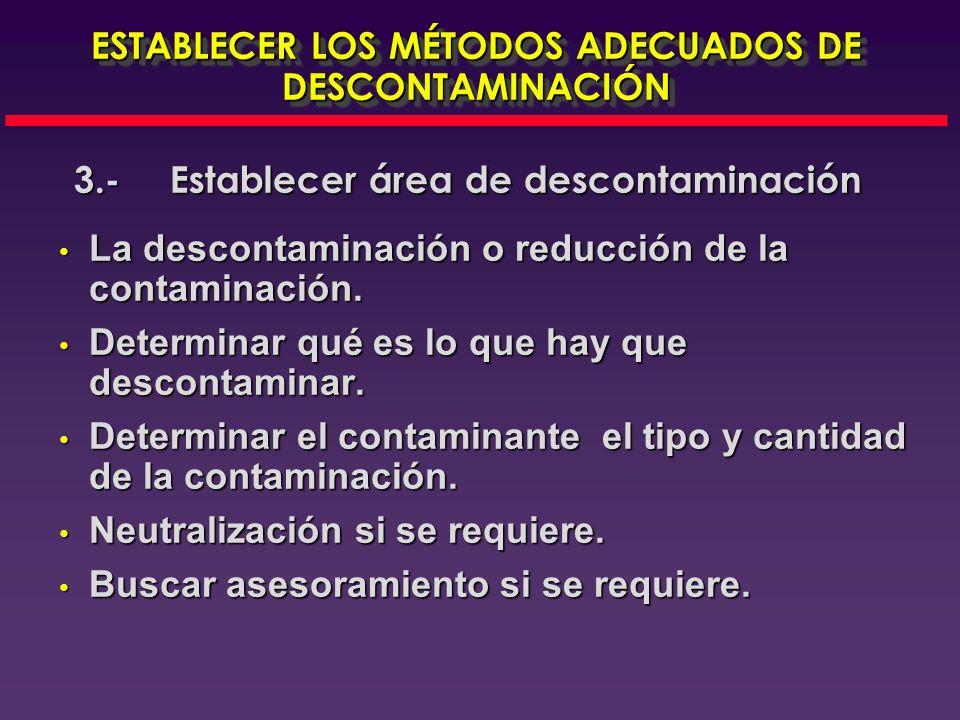 ESTABLECER LOS MÉTODOS ADECUADOS DE DESCONTAMINACIÓN