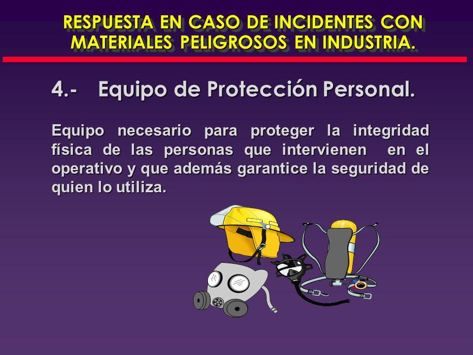 4.- Equipo de Protección Personal.