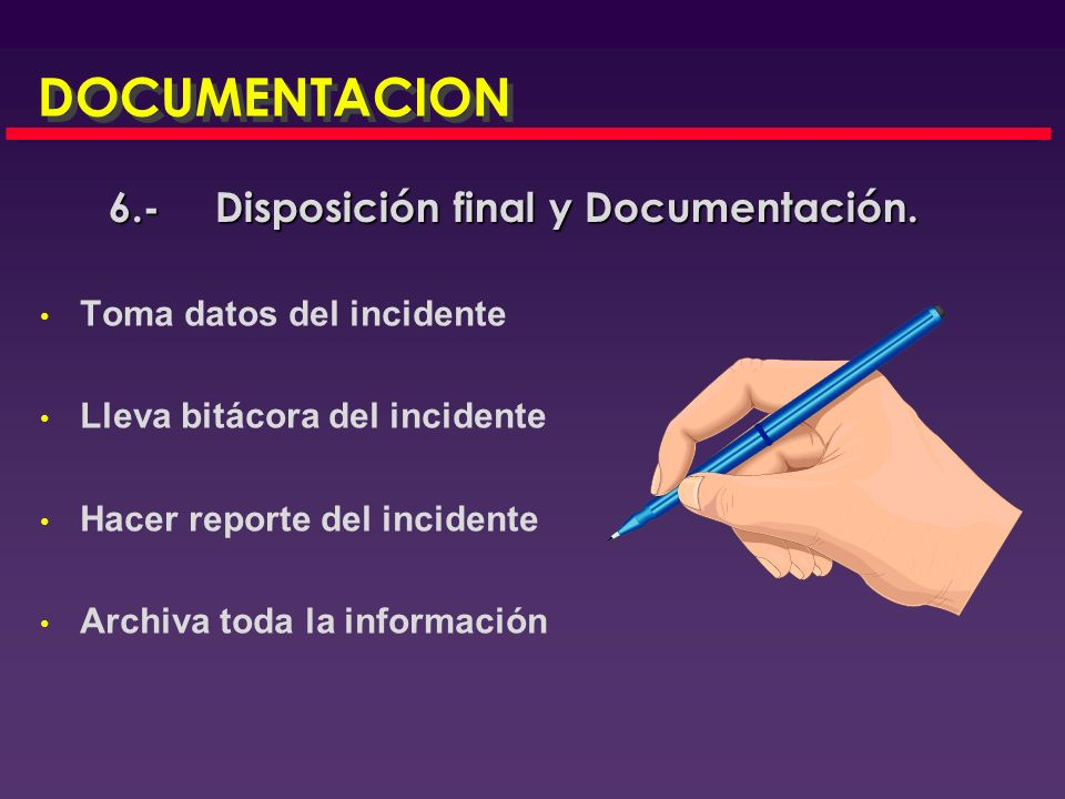 6.- Disposición final y Documentación.