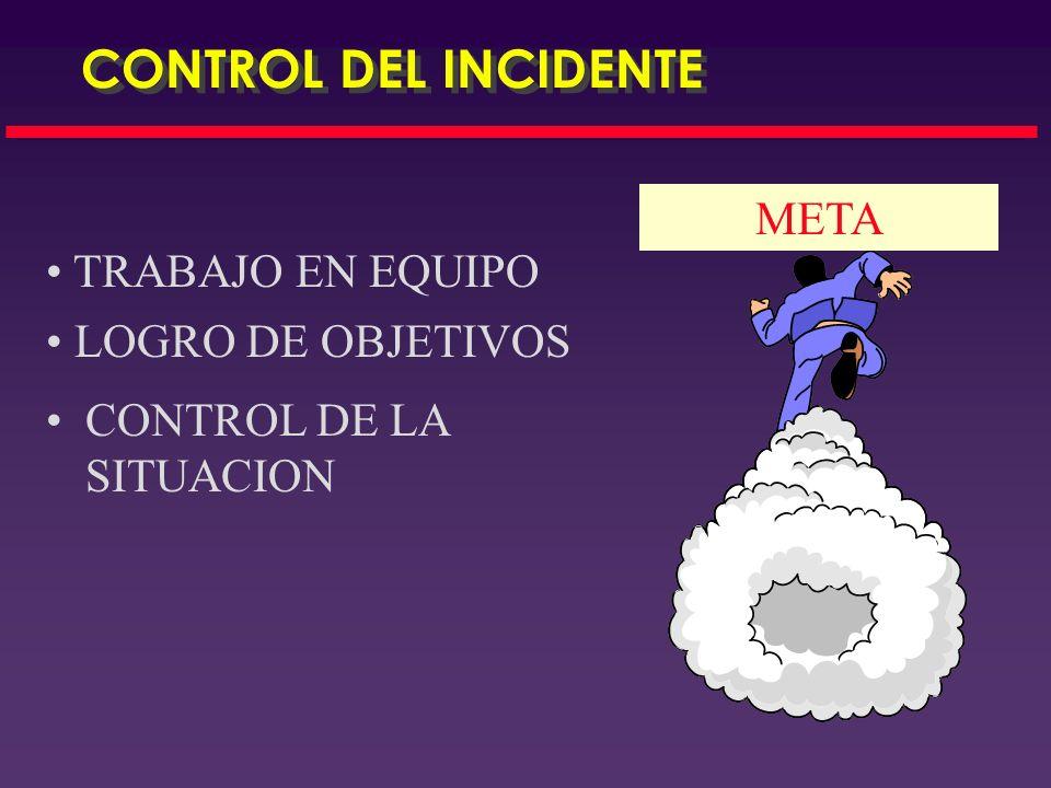 CONTROL DEL INCIDENTE META TRABAJO EN EQUIPO LOGRO DE OBJETIVOS