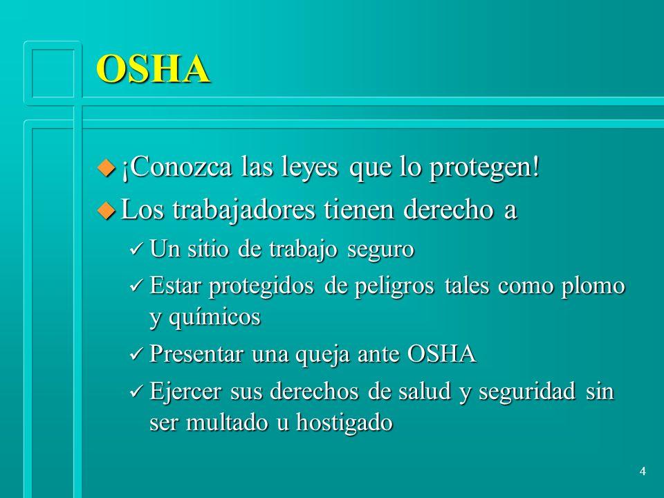 OSHA ¡Conozca las leyes que lo protegen!