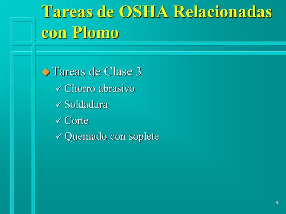 Tareas de OSHA Relacionadas con Plomo
