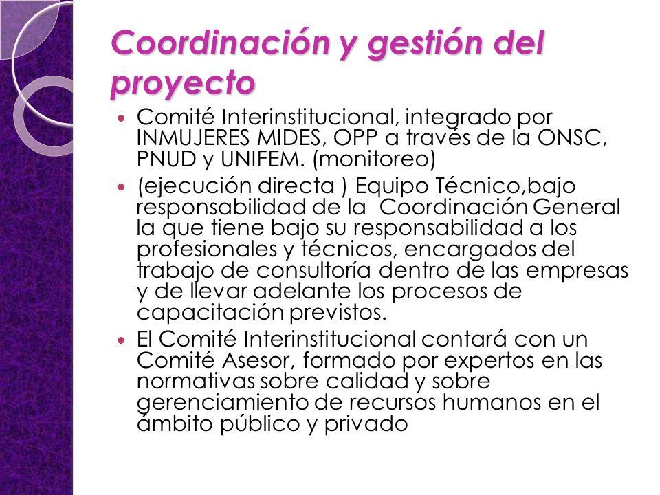 Coordinación y gestión del proyecto