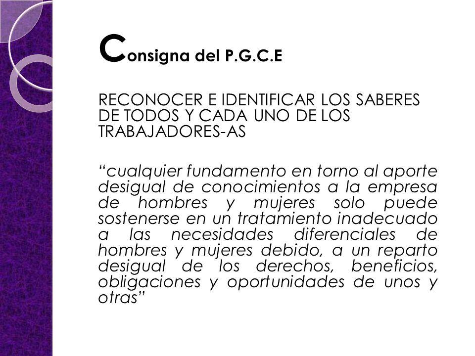 Consigna del P.G.C.E RECONOCER E IDENTIFICAR LOS SABERES DE TODOS Y CADA UNO DE LOS TRABAJADORES-AS.