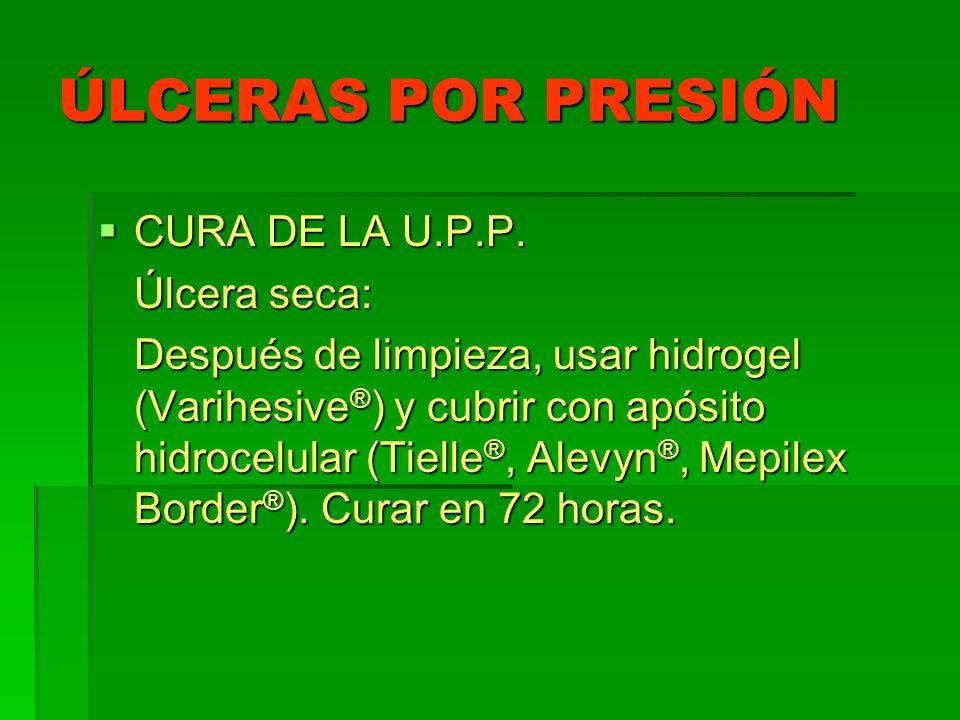 ÚLCERAS POR PRESIÓN CURA DE LA U.P.P. Úlcera seca: