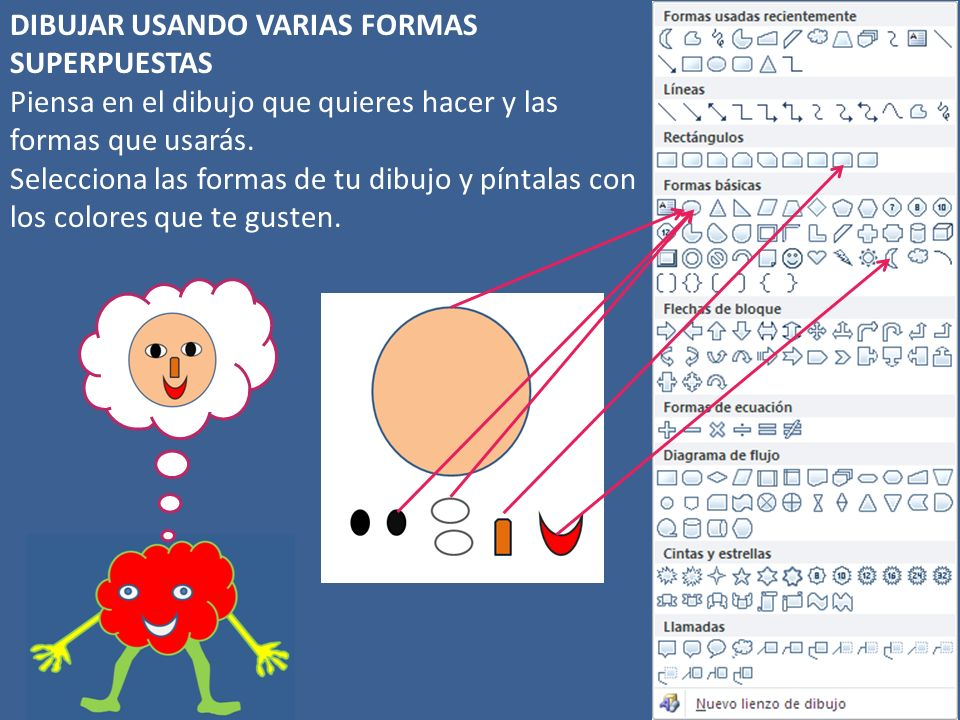 DIBUJAR USANDO VARIAS FORMAS SUPERPUESTAS Piensa en el dibujo que quieres hacer y las formas que usarás.