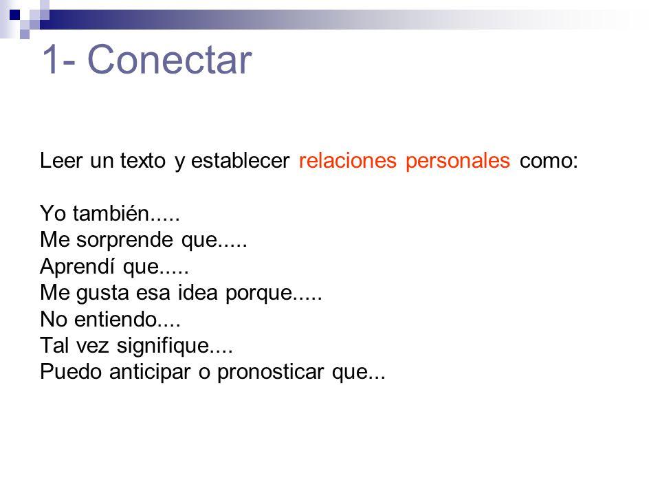 1- Conectar Leer un texto y establecer relaciones personales como: