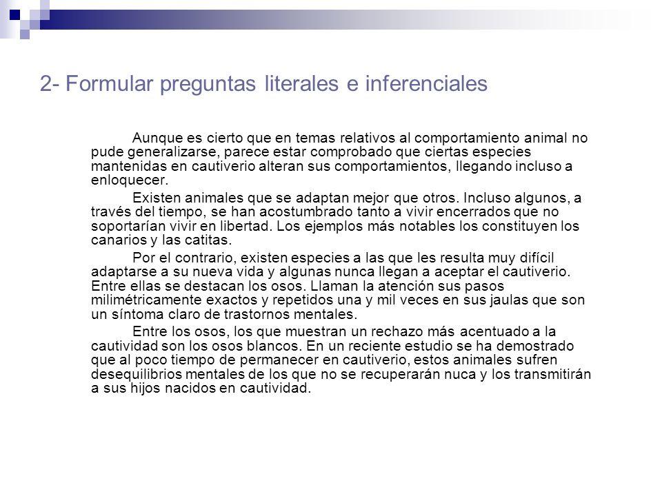 2- Formular preguntas literales e inferenciales