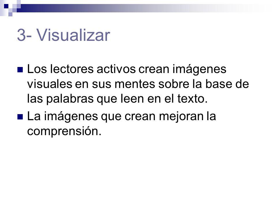 3- Visualizar Los lectores activos crean imágenes visuales en sus mentes sobre la base de las palabras que leen en el texto.
