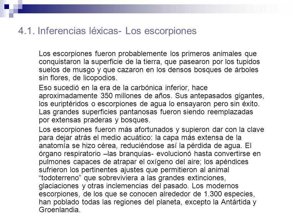 4.1. Inferencias léxicas- Los escorpiones