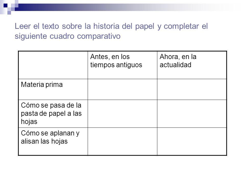 Leer el texto sobre la historia del papel y completar el siguiente cuadro comparativo