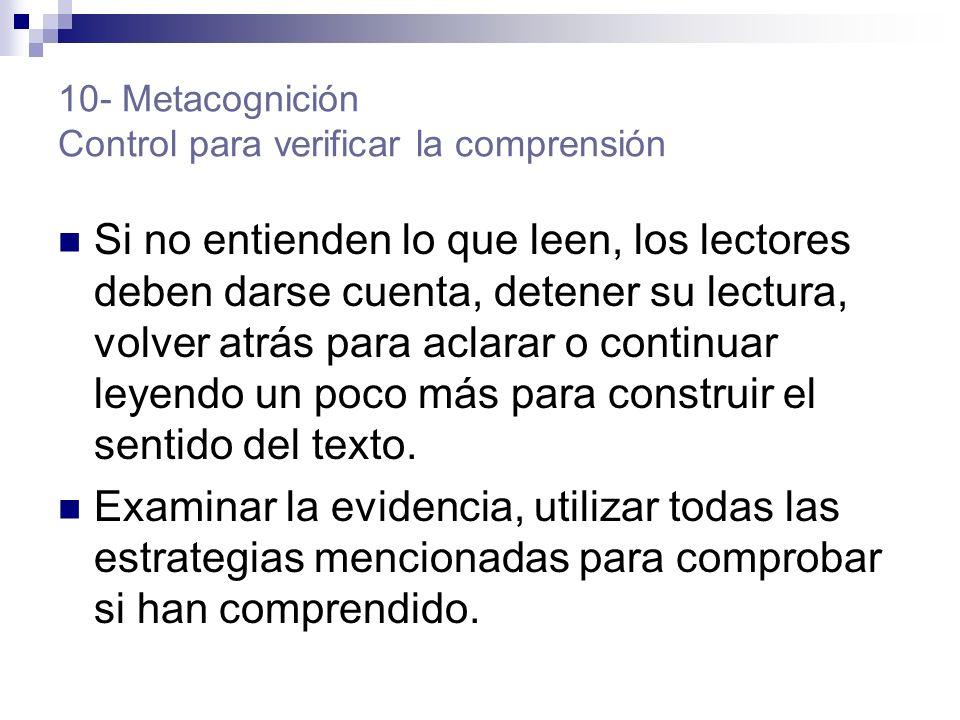 10- Metacognición Control para verificar la comprensión