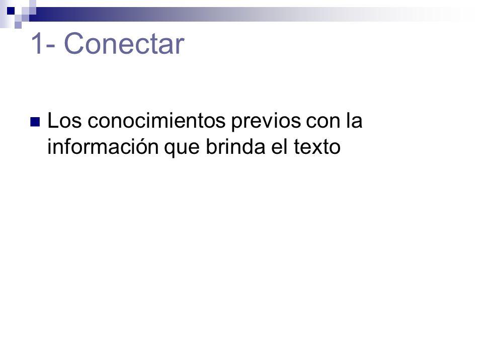 1- Conectar Los conocimientos previos con la información que brinda el texto