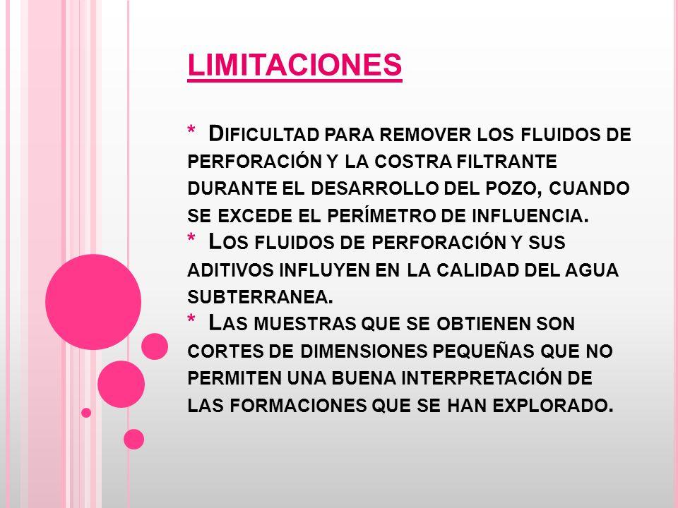 LIMITACIONES * Dificultad para remover los fluidos de perforación y la costra filtrante durante el desarrollo del pozo, cuando se excede el perímetro de influencia.