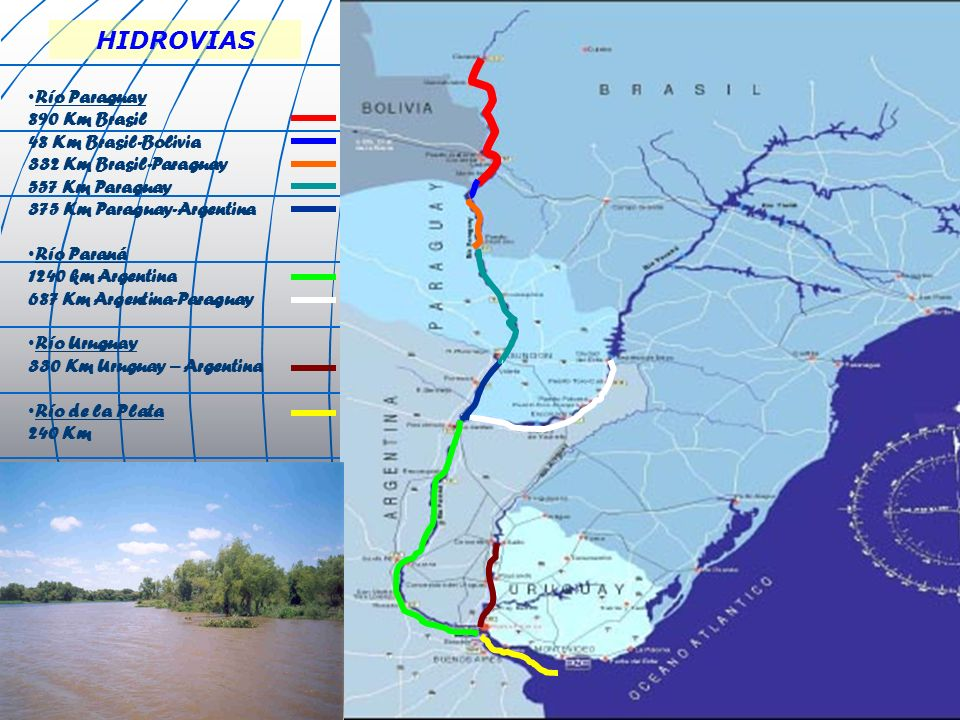 HIDROVIAS Río Paraguay 890 Km Brasil 48 Km Brasil-Bolivia