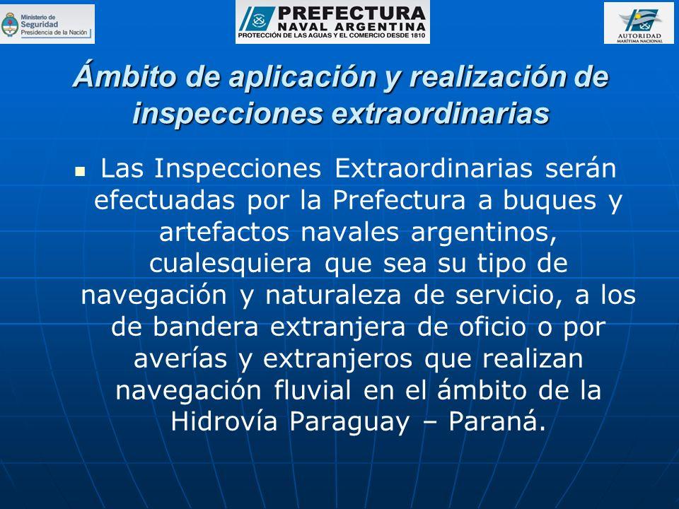 Ámbito de aplicación y realización de inspecciones extraordinarias