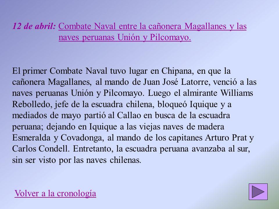 12 de abril: Combate Naval entre la cañonera Magallanes y las