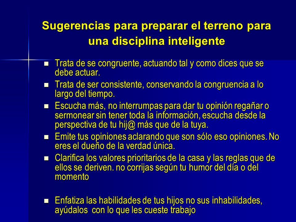 Sugerencias para preparar el terreno para una disciplina inteligente