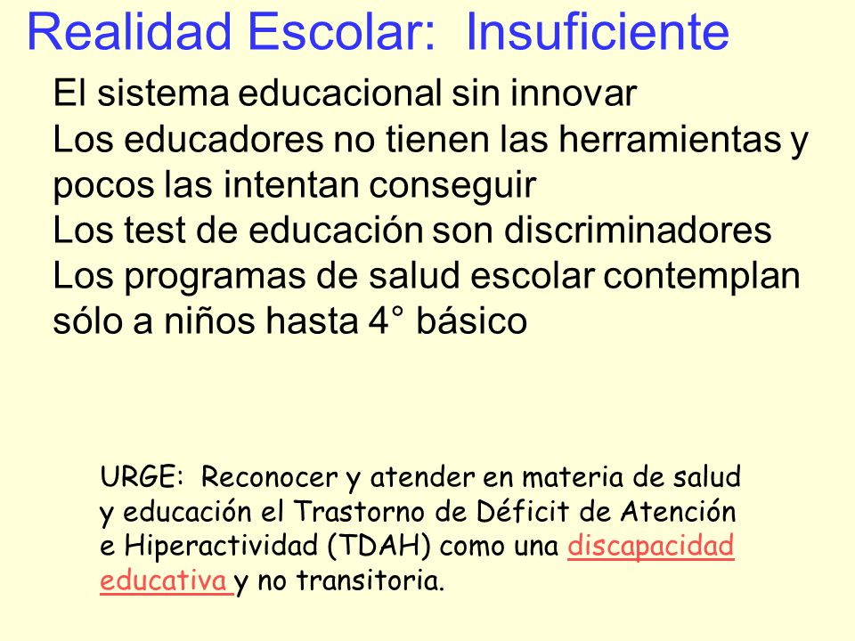 Realidad Escolar: Insuficiente