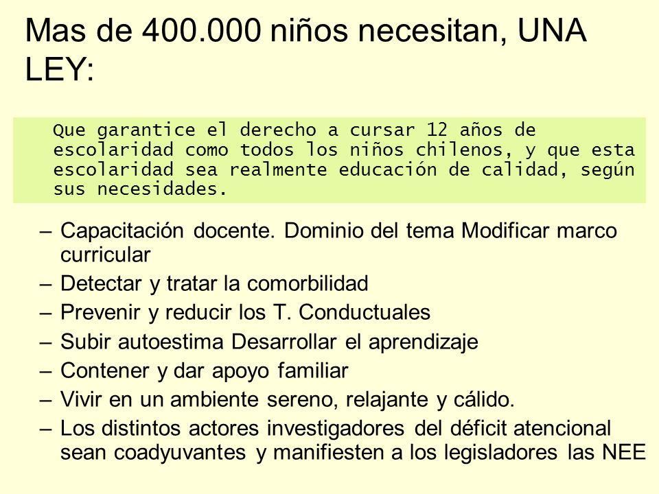 Mas de 400.000 niños necesitan, UNA LEY: