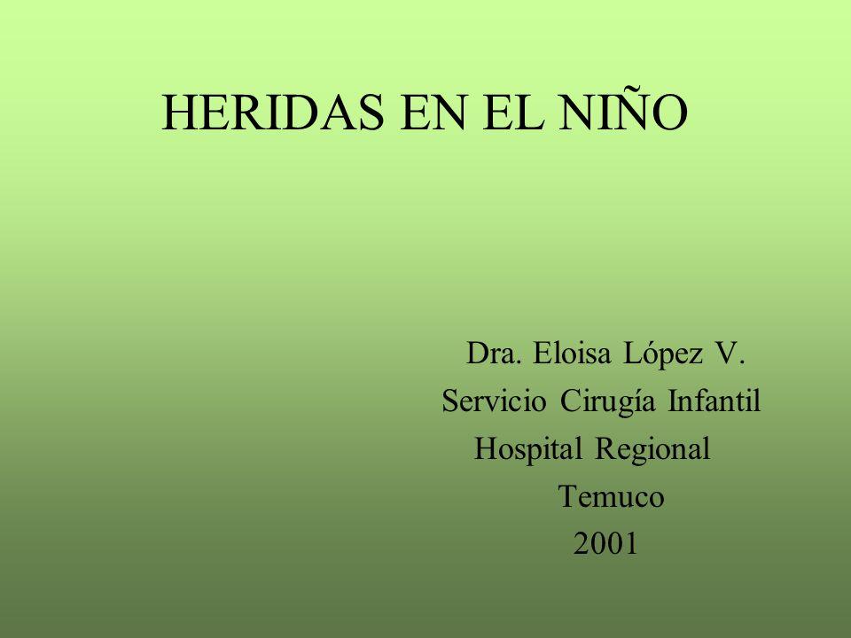 HERIDAS EN EL NIÑO Dra. Eloisa López V. Servicio Cirugía Infantil