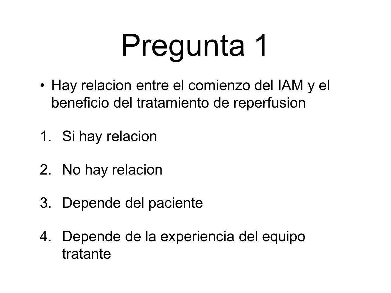 Pregunta 1 Hay relacion entre el comienzo del IAM y el beneficio del tratamiento de reperfusion. Si hay relacion.