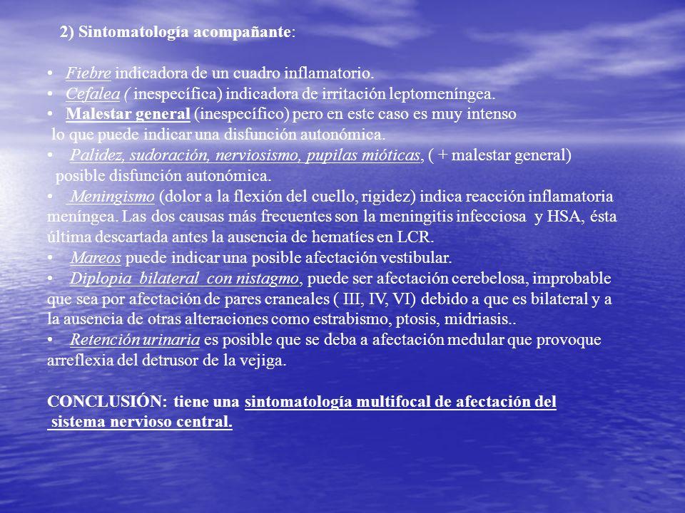 2) Sintomatología acompañante: