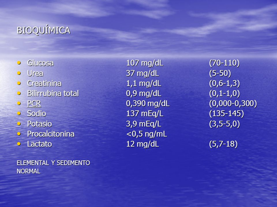 BIOQUÍMICA Glucosa Urea Creatinina Bilirrubina total PCR Sodio Potasio