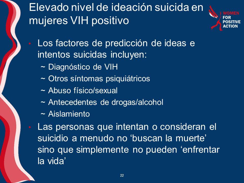 Elevado nivel de ideación suicida en mujeres VIH positivo