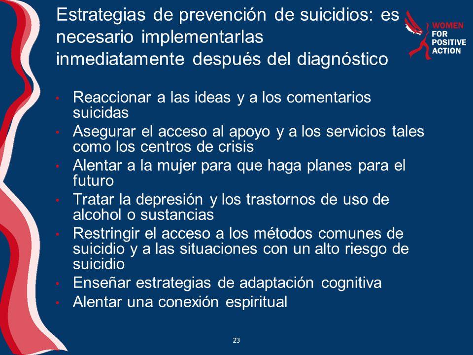 Estrategias de prevención de suicidios: es necesario implementarlas inmediatamente después del diagnóstico