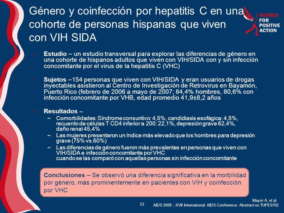 Género y coinfección por hepatitis C en una cohorte de personas hispanas que viven con VIH SIDA