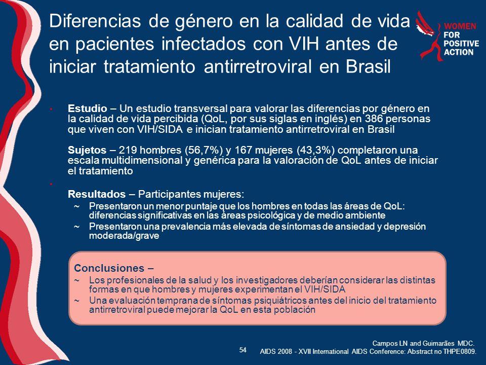 Diferencias de género en la calidad de vida en pacientes infectados con VIH antes de iniciar tratamiento antirretroviral en Brasil