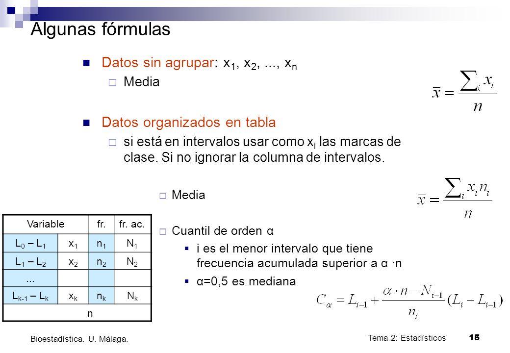 Algunas fórmulas Datos sin agrupar: x1, x2, ..., xn