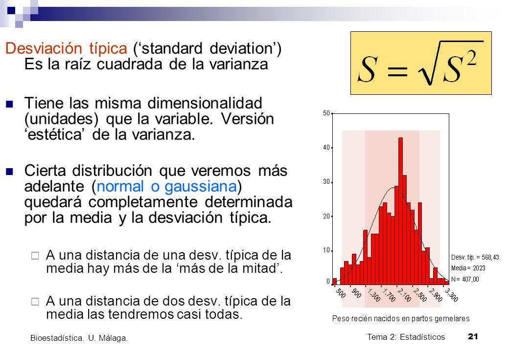 Desviación típica ('standard deviation') Es la raíz cuadrada de la varianza