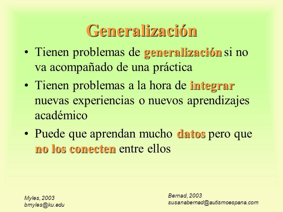 Generalización Tienen problemas de generalización si no va acompañado de una práctica.