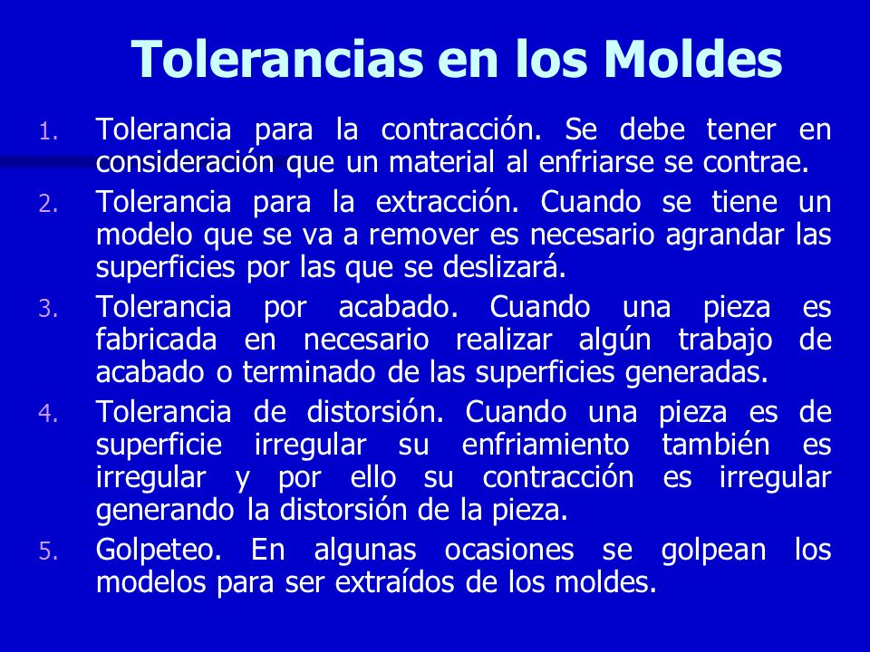 Tolerancias en los Moldes