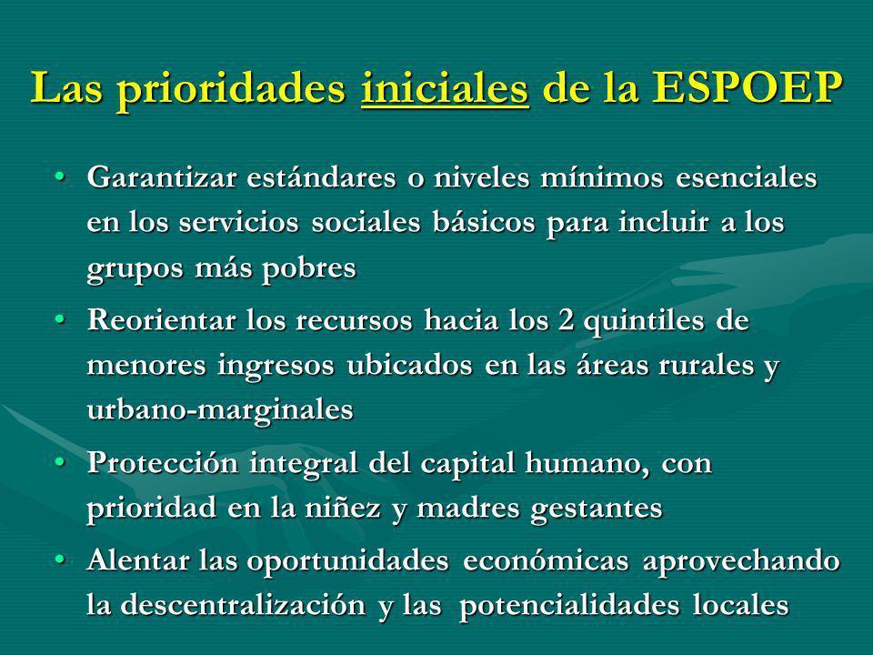 Las prioridades iniciales de la ESPOEP
