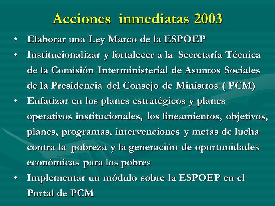 Acciones inmediatas 2003 Elaborar una Ley Marco de la ESPOEP