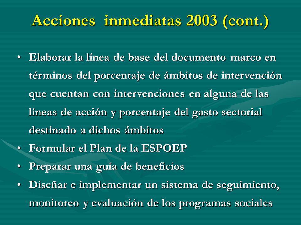 Acciones inmediatas 2003 (cont.)